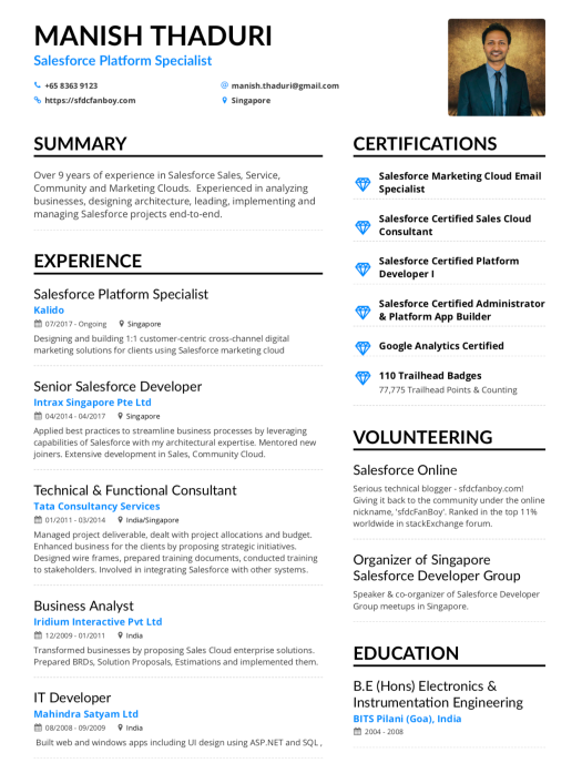 my single page cv  u2013 sfdcfanboy